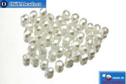 Czech fire polished beads white pearl (70402CR) 4mm, 50pc FP157