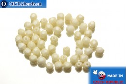 Czech fire polished beads beige (LC02010) 4mm, 50pc FP294