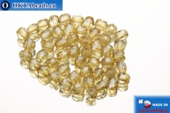 Czech fire polished beads beige luster (LC00030) 2mm, 50pc FP340