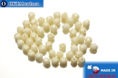 Czech fire polished beads beige (LC02010) 4mm, 50pc