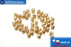 Czech fire polished beads beige pearl (70486CR) 3mm, 50pc