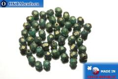 Český korálky ohňovky tyrkys bronz travertin (LG63130) 4mm, 50ks