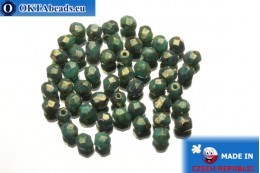 Czech fire polished beads turquoise bronze travertin (LG63130) 4mm, 50pc FP267