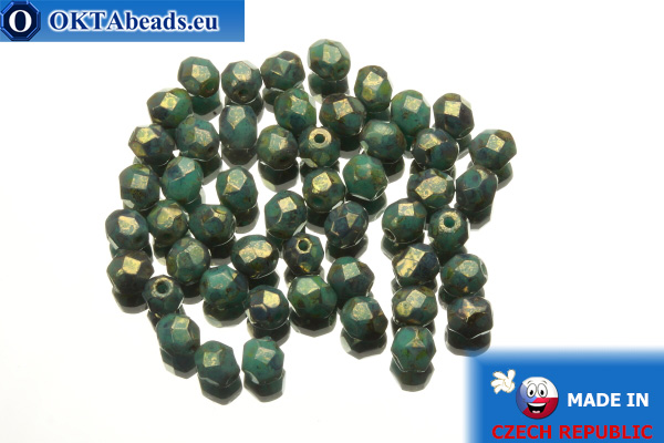 Czech fire polished beads turquoise bronze travertin (LG63130) 4mm, 50pc