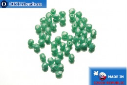 Czech fire polished beads turquoise luster (L63130) 3mm, 50pc FP202