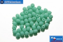 Czech fire polished beads turquoise matte (M63130) 2mm, 50pc FP350