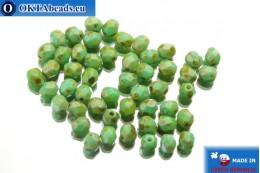 Czech fire polished beads turquoise travertin (T53130) 4mm, 50pc FP137