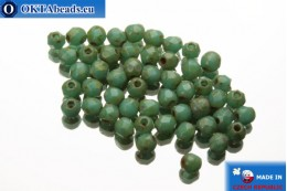 Czech fire polished beads turquoise travertin (T63130) 2mm, 50pc FP349