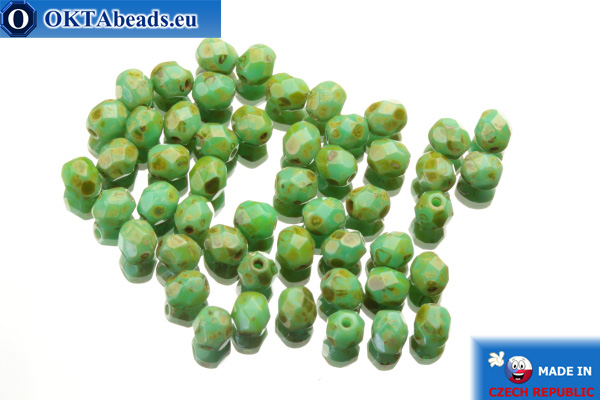 Czech fire polished beads turquoise travertin (T53130) 4mm, 50pc