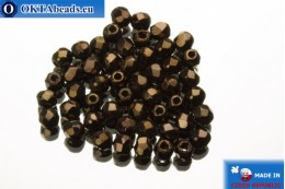 Czech fire polished beads bronze (LZ23980) 2mm, 50pc FP352