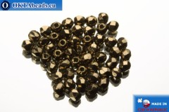 Czech fire polished beads bronze (B23980) 2mm, 50pc FP358