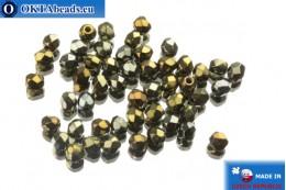 Чешские граненые бусины бронза ирис (21415JT) 3мм, 50шт FP130