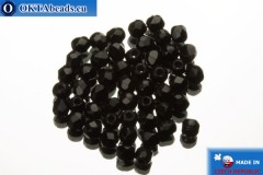 Czech fire polished beads black (23980) 2mm, 50pc FP351