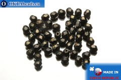 Czech fire polished beads black bronze travertin (LG23980) 4mm, 50pc