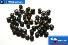 Czech fire polished beads black bronze (W23980) 4mm, 50pc