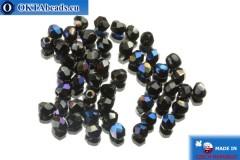 Czech fire polished beads black iris (BR23980) 3mm, 50pc FP129