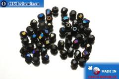 Czech fire polished beads black iris (BR23980) 4mm, 50pc