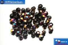 Czech fire polished beads black iris (VX23980) 4mm, 50pc