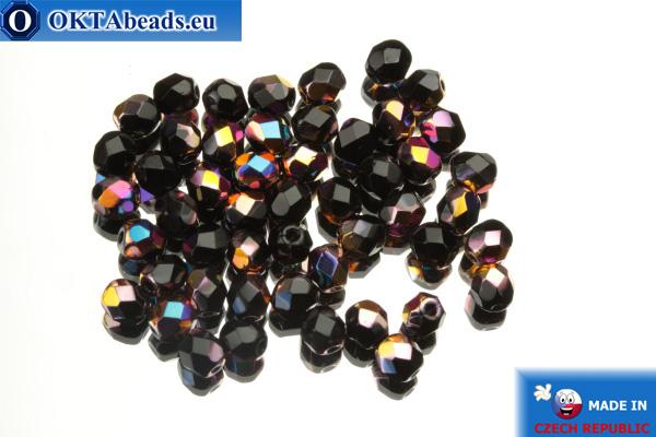 Český korálky ohňovky černý iris (VX23980) 4mm, 50ks