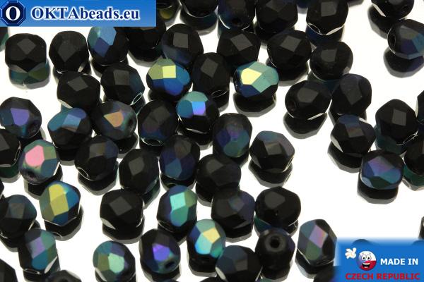 Český korálky ohňovky černý matný AB (MX23980) 4mm, 50ks