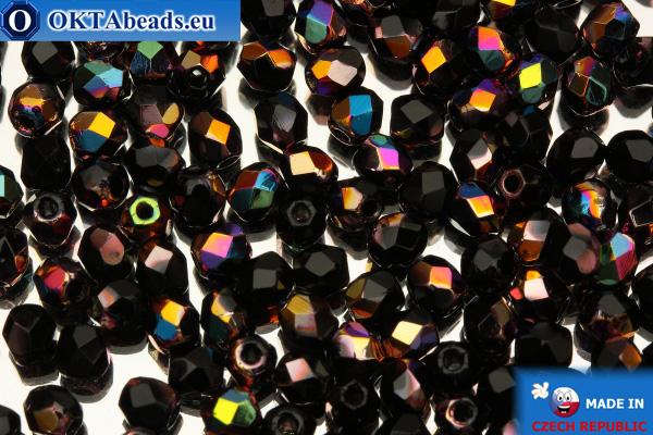 Český korálky ohňovky černý AB (VX23980) 3mm, 50ks