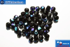 Czech fire polished beads black AB (X23980) 2mm, 50pc FP361