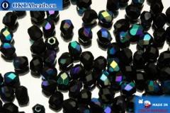 Czech fire polished beads black AB (X23980) 3mm, 50pc FP34