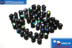 Czech fire polished beads black AB (X23980) 4mm, 50pc FP289