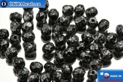 Český korálky ohňovky černý stříbro (23980/45702) 4mm, 50ks