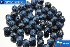 Czech fire polished beads black blue silver (23980/45706) 4mm, 50pc FP331