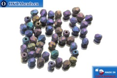 Czech fire polished beads lilac iris matte (21135JT) 3mm, 50pc