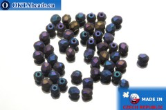 Czech fire polished beads lilac iris matte (21135JT) 4mm, 50pc
