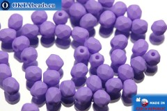 Czech fire polished beads lilac matte (02010/29570) 4mm, 50pc