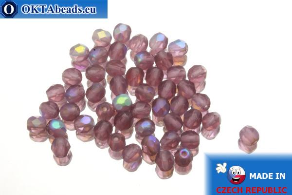 Czech fire polished beads lilac AB matte (MX20060) 4mm, 50pc