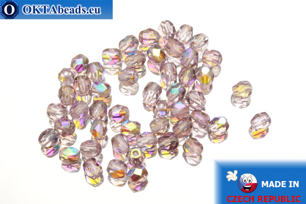 Czech fire polished beads lilac AB (X20030) 4mm, 50pc