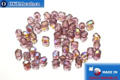 Czech fire polished beads lilac AB (X20080) 4mm, 50pc