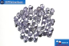 Czech fire polished beads lilac silver (K2208CR) 4mm, 50pc
