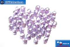 Czech fire polished beads lilac pearl (70022CR) 4mm, 50pc