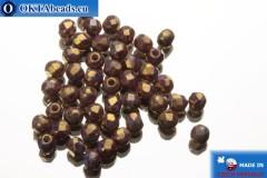 Чешские граненые бусины фиолетовые золотой глянец (LH02010) 2мм, 50шт
