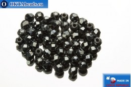 Czech fire polished beads hematite (L23980) 2mm, 50pc FP334