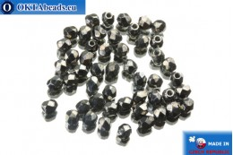 Czech fire polished beads hematite (L23980) 3mm, 50pc FP132