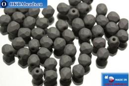 Czech fire polished beads hematite matte (02010/29566) 4mm, 50pc FP313