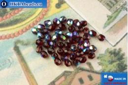 Czech fire polished beads garnet AB (X90110) 4mm, 50pc