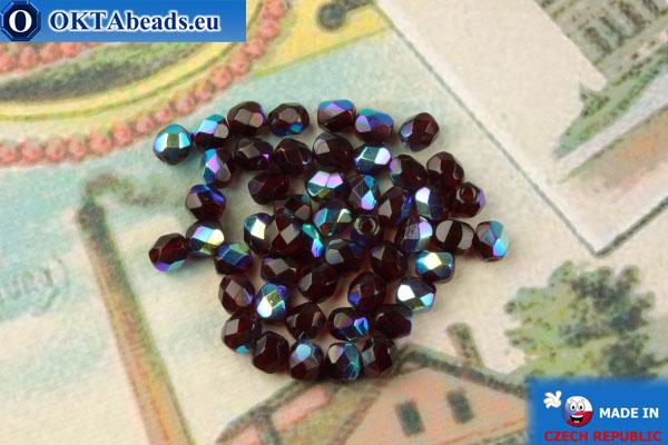 Чешские граненые бусины гранат радужный (x90100) 4мм, 50шт, FP370
