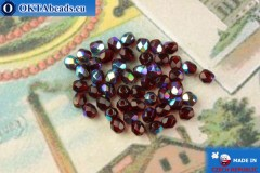 Czech fire polished beads garnet AB (X90110) 4mm, 50pc