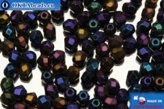 Czech fire polished beads iris (21435JT) 3mm, 50pc
