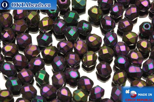 Czech fire polished beads iris (21495JT) 4mm, 50pc
