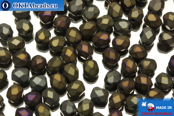 Czech fire polished beads iris matte (21115JT) 4mm, 50pc