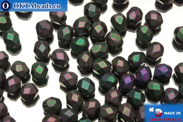 Czech fire polished beads iris matte (21195JT) 4mm, 50pc