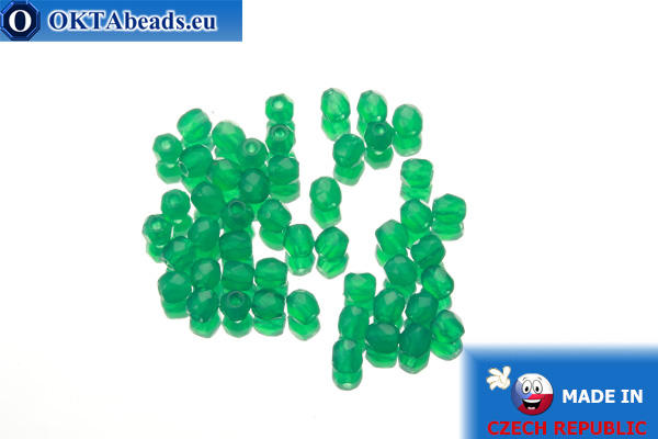 Český korálky ohňovky smaragd opal (52060) 3mm, 50ks